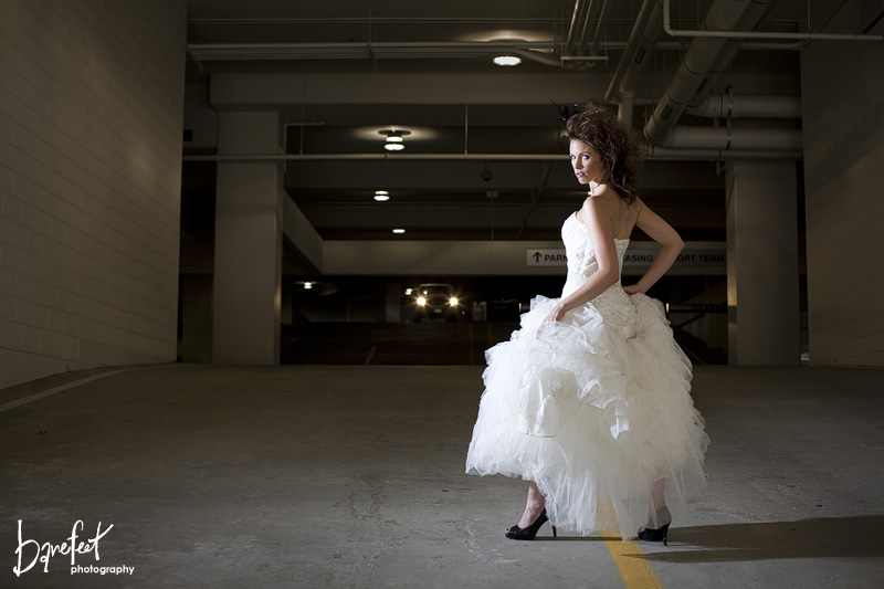 Bridal shoot in an urban setting in a garage
